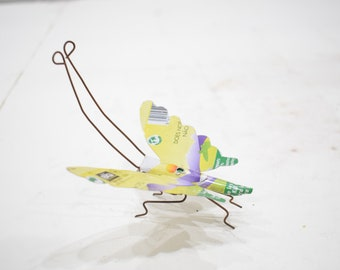 African Folk Art Toy Butterfly Recycled Tin Can Butterfly Tanzania Vintage Toy Butterfly