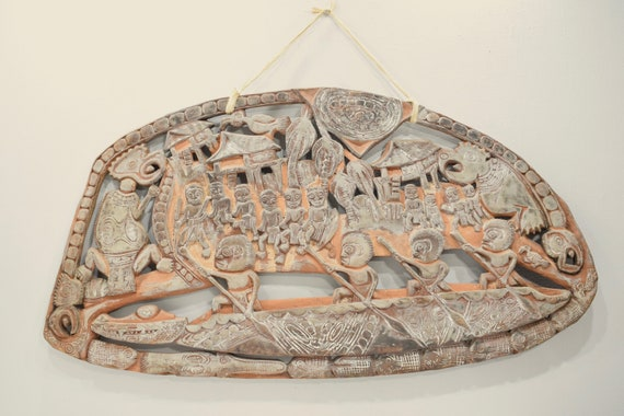 Papua New Guinea Story Board Kambot Village Wood Carved Relief