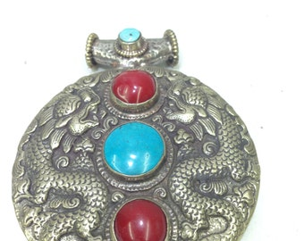 Pendant Silver  Dragon Turquoise Howlite Tibetan Pendant Handmade Necklace Dragon Pendant Turquoise Red Howlite Necklace Statement