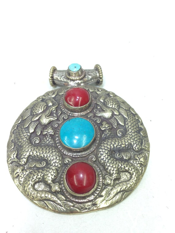 Pendant Silver  Dragon Turquoise Howlite Tibetan Pendant Handmade Necklace Dragon Pendant Turquoise Red Howlite Necklace Statement