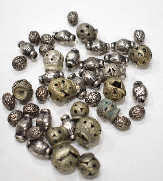 Beads Silver Assorted Tribal Beads 10-14mm