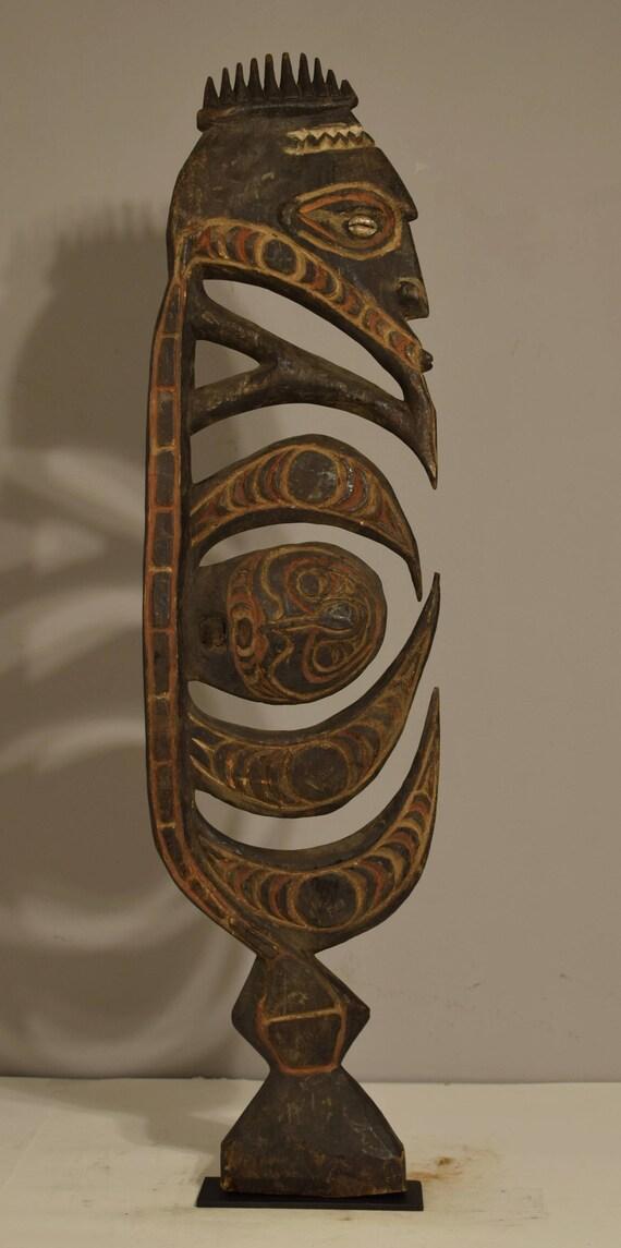 "Papua new Guinea Figure One Leg Yipwon Wood Ceremonial Men's Hunting Figure 24"""