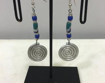 Earrings African Aluminum Coiled Turquoise Blue White Sandcast Beads Masai Beaded Earrings Handmade Aluminum Women Earrings Tribal E23