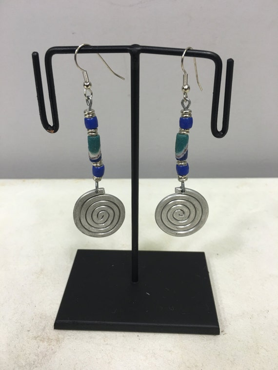 Earrings African Aluminum Coiled Turquoise Blue White Sandcast Beads Masai Beaded Earrings Handmade Aluminum Women Earrings Tribal E23