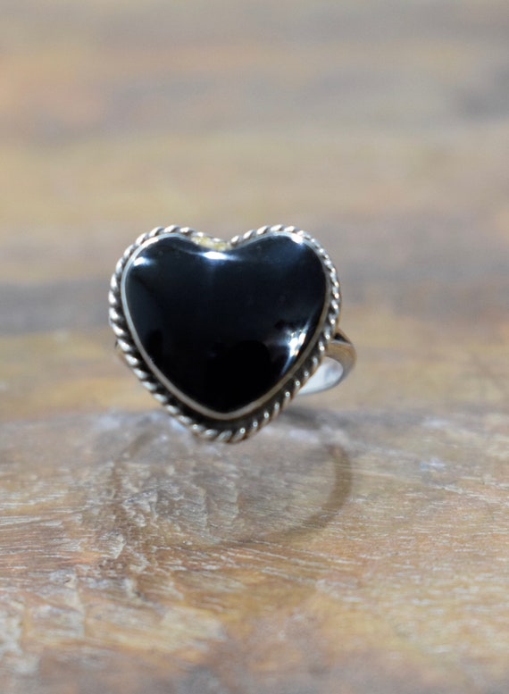 Ring Sterling Silver Black Onyx Heart Ring