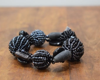 Bracelet Beaded Steel Gray Black Glass Beaded Bead Elastic Bracelet