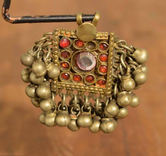 """Beads Pendant Pin Silver Kuchi Belly Dancing Jewelry Middle Eastern Kuchi Pin 2  1/2"""""""