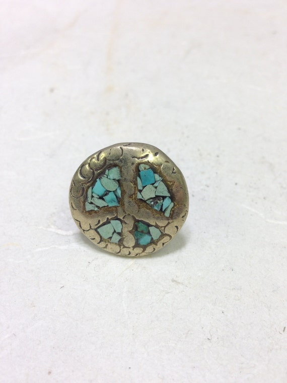 Ring Silver Turquoise Inlaid Chip Round Ring Tibet Handmade Tribal Tibet Turquoise Unique  Statement
