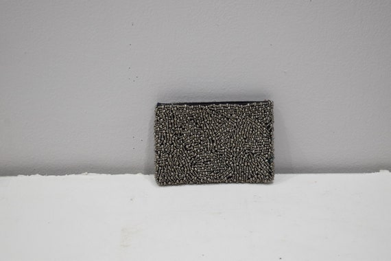 Purse Beaded Steel Gray Small Clutch Purse