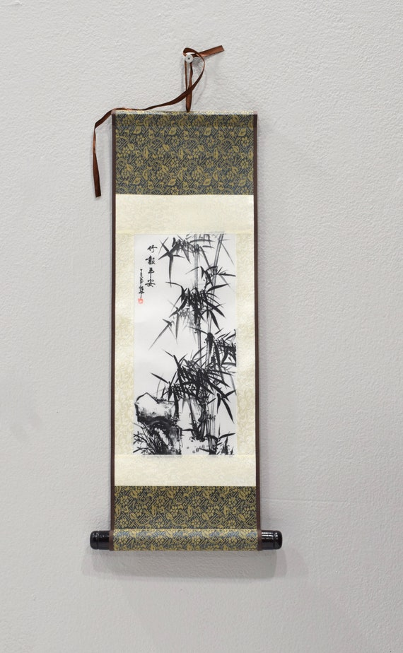 Scroll Chinese Brocade Painted Silk Bamboo Wall Hanging 18""
