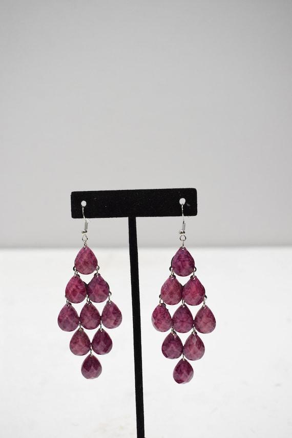 Earrings Purple Acrylic Waterfall Earrings