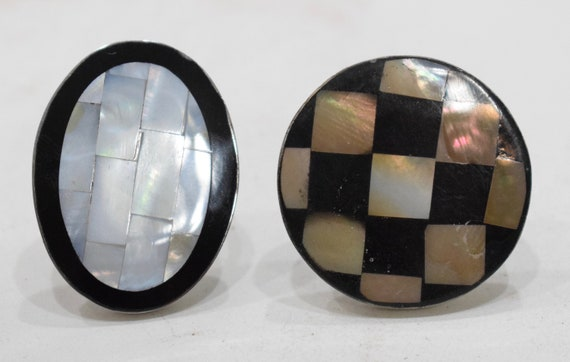 Ring 2 Inlaid Mother of Pearl Adjustable Rings Indonesia