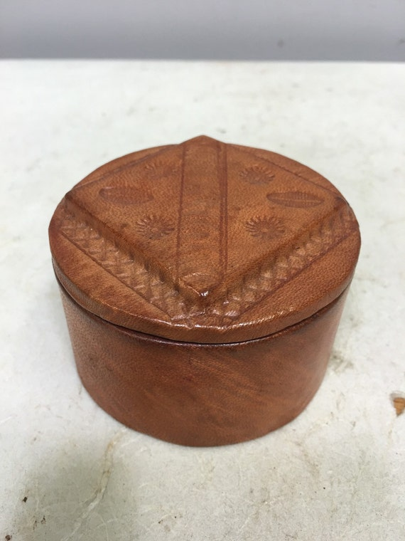 African Box Yellow Leather Tuareg Box  Mali Handmade  Hand Tooled Symbols Dyed Leather Box