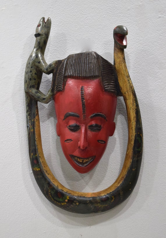 African Mask Baule Red Mama Witu Wood Mask Mask Ivory Coast