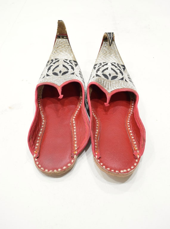 Shoes Silver Embroidered India Leather Wedding Sho