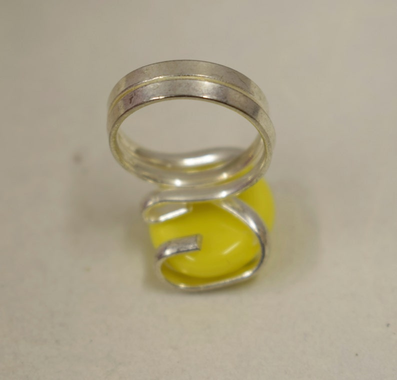 Ring Silver Yellow Colored Glass Handmade Glass Silver Jewelry Ring Fun Yellow  Color Glass Unique