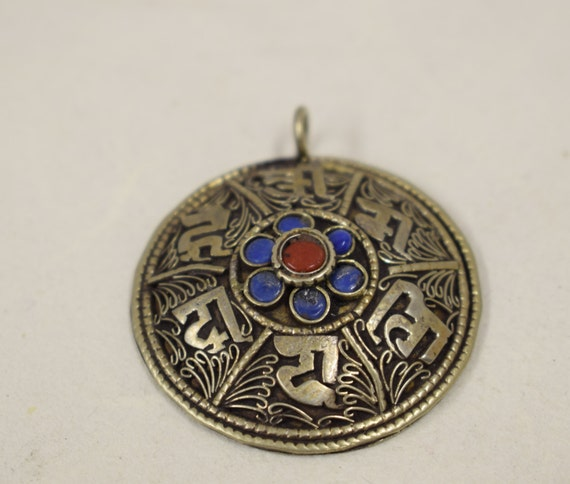 """Silver Mantra Nepal Tibet Coral Turquoise Silver Filigree Pendant 2"""""""