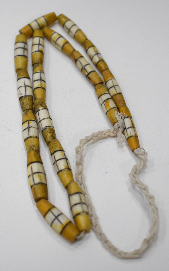 Beads Bone Dyed Yellow  White Tubes Philippines Vintage 26mm - 28mm