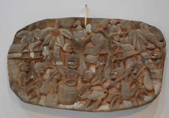 Papua New Guinea Story Board Kambot Carved Wood Relief Village Life Storyboard