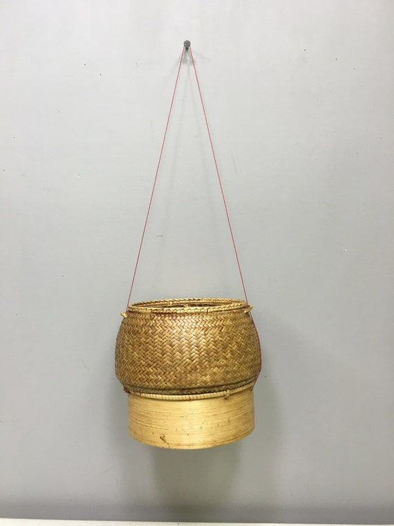 Basket Stickly Rice Bamboo Wood Basket Laos Handmade Sticky Rice Basket Stickey Rice Container Bamboo Rattan Wood Unique