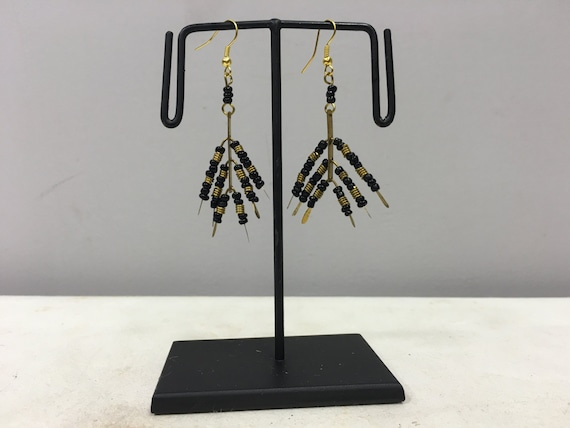 Earrings African Brass and Black Glass Earrings Masai Beaded Earrings Handmade Brass Women Earrings Tribal E46