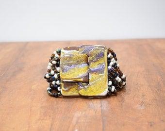 Bracelet Iridescent Beaded Hand Painted Buckle Clasp Bracelet