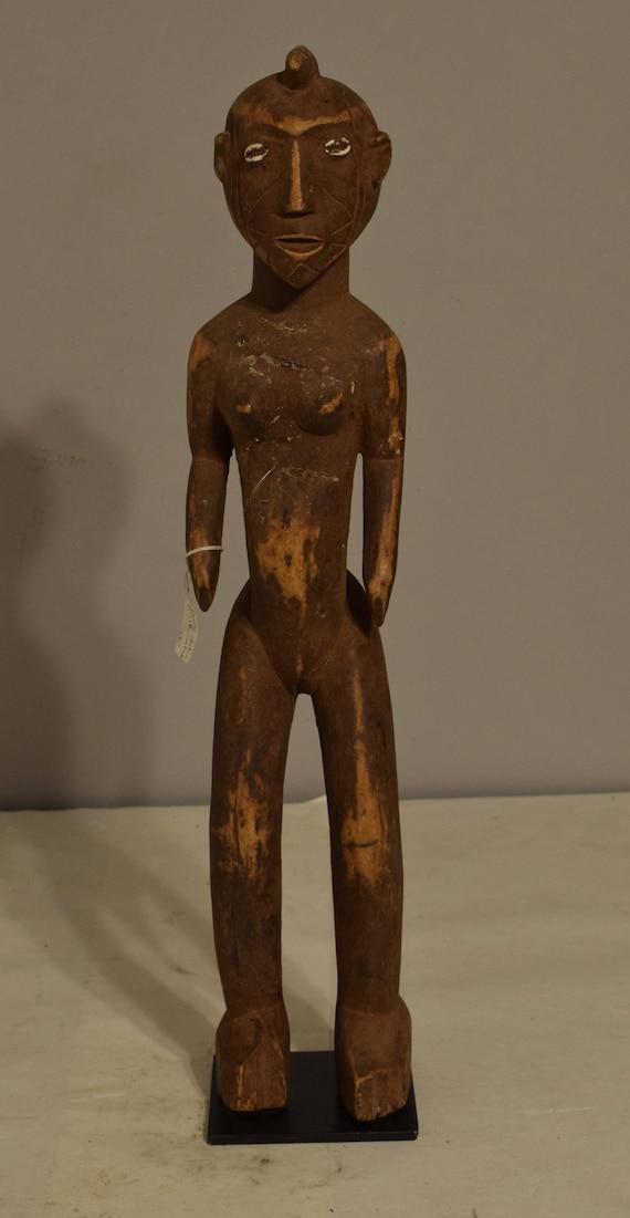 African Mossi  Female Wood Statue Burkina Faso  Handmade Cowrie Shell Eyes Female Ancestor Ritual Statue