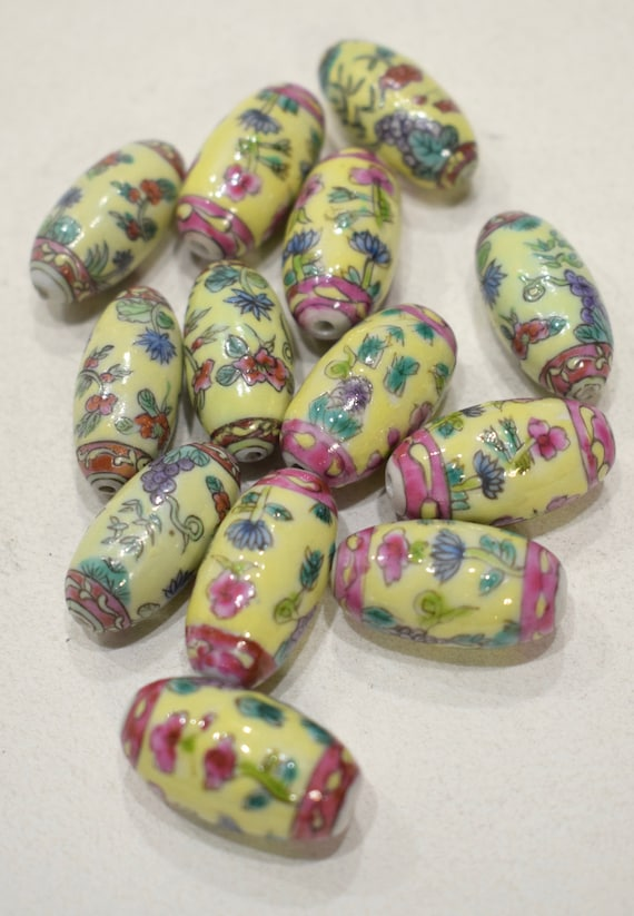 Beads Chinese Yellow Flower Porcelain Beads 25mm