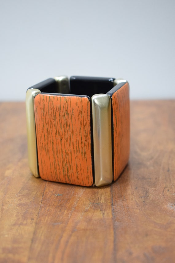 Bracelet Orange Lucite Rectangle Stretch Bracelet