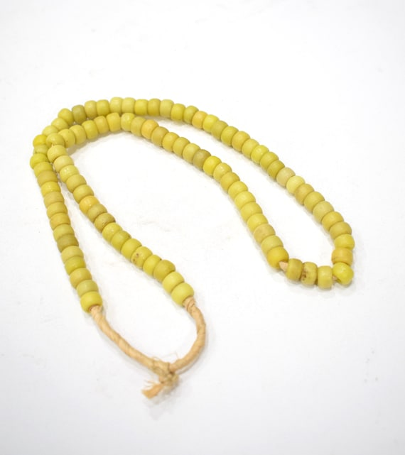 Beads African Yellow Glass  Beads 9mm-10mm