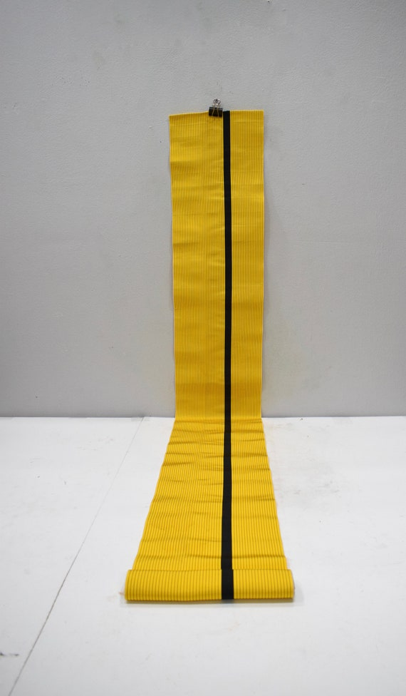 Japanese Yellow Black Obi or Sash Womens Kimono Belt