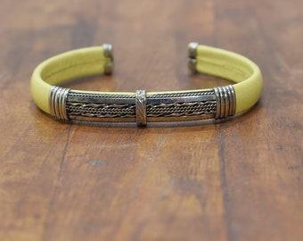 Bracelet Plated Silver Yellow Band Cuff Bracelet