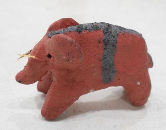 African Red Clay Elephant Statue Samburu Kenya