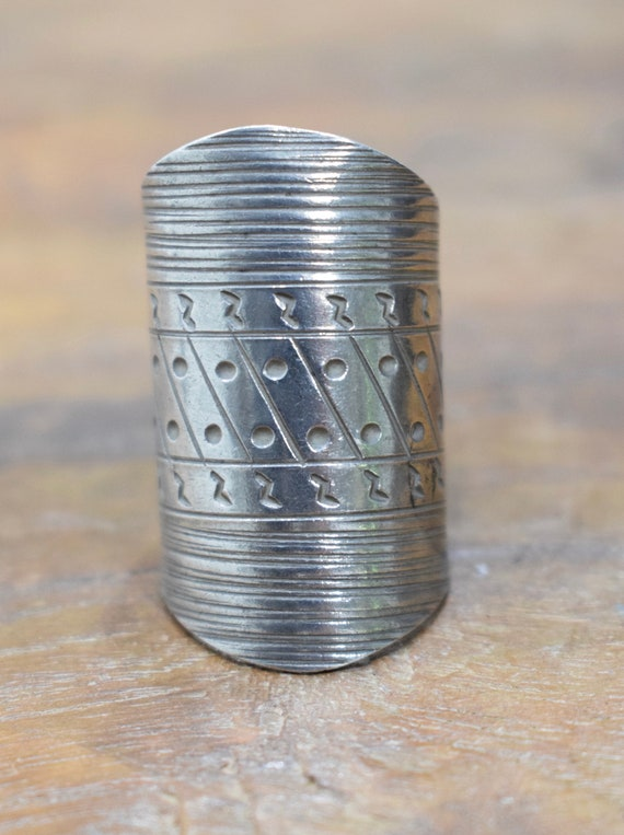 Sterling Silver Etched Hill Tribe Band Ring