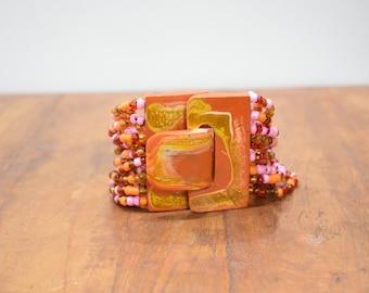 Bracelet Orange Hand Painted Buckle Clasp Bracelet