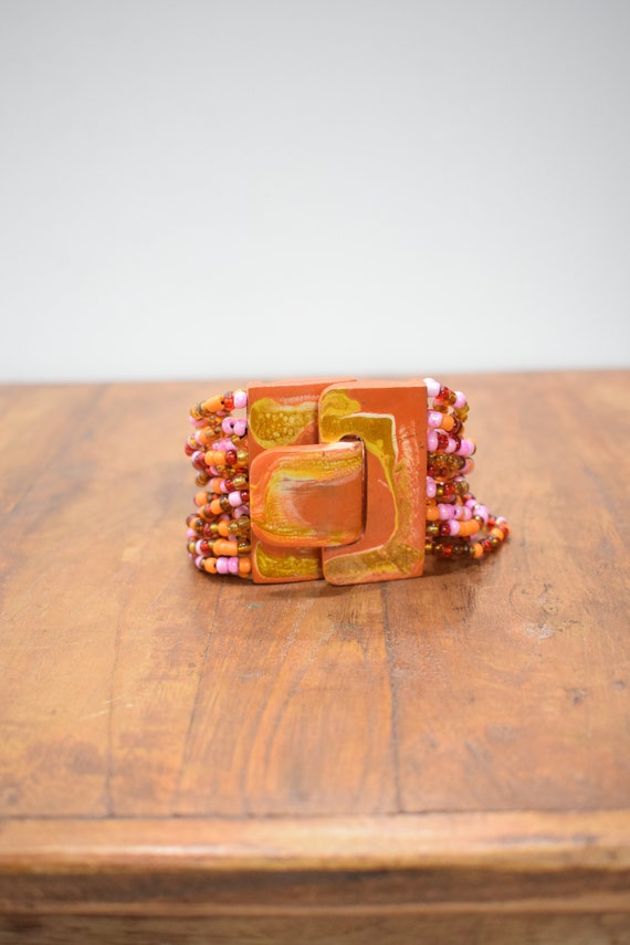 Bracelet Orange Hand Painted Buckle Clasp Bracelet