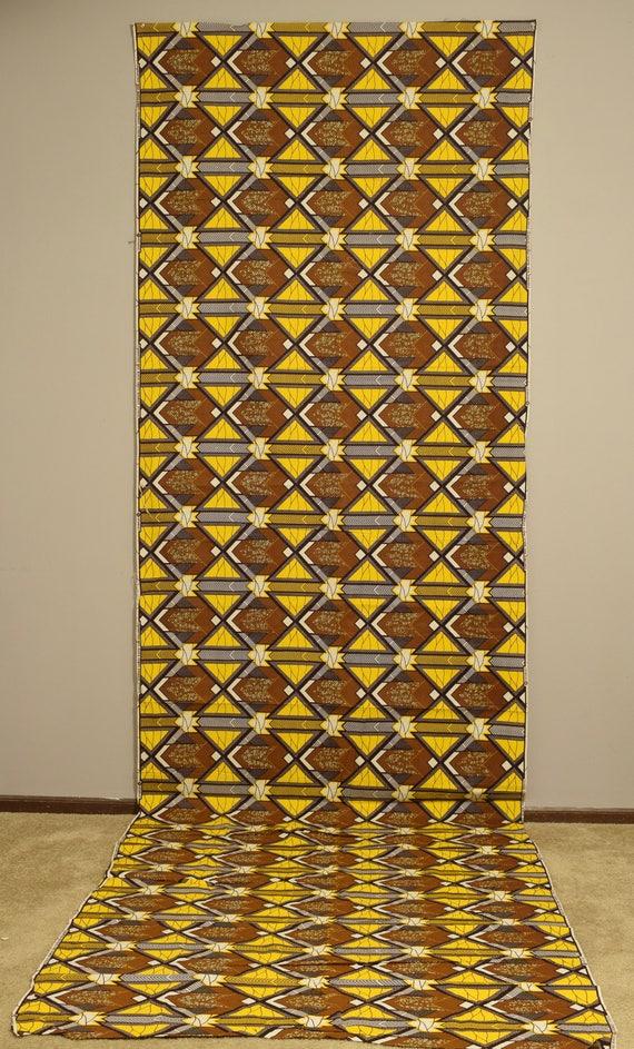 "African Waxed Fabric Long Brown Yellow Black White Patten Dogon Fabric 145"""