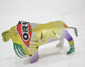 African Folk Art Toy Lion Recycled Tin Can Lion Tanzania Vintage Toy Lion