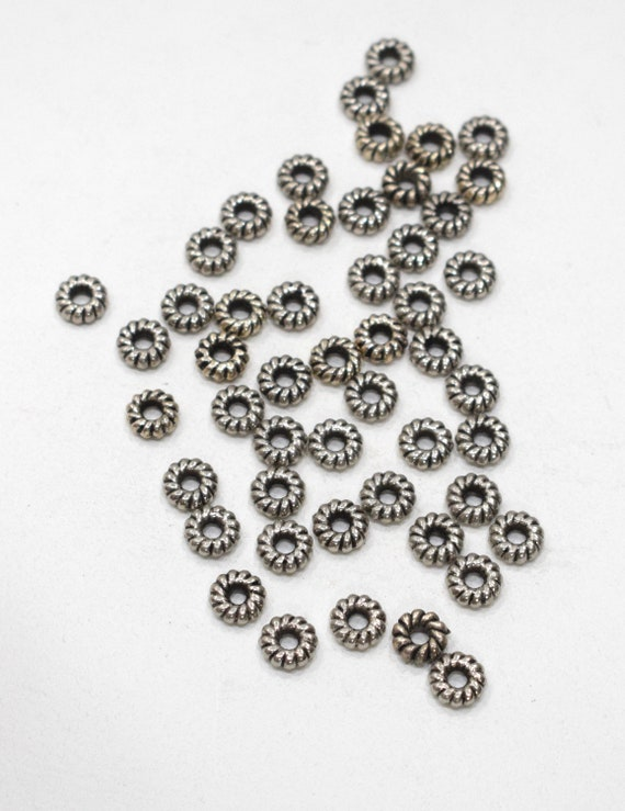 Beads Silver Etched Ring Beads 10mm