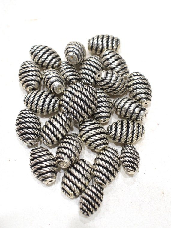 Beads Silver Etched Beehive Beads 20mm