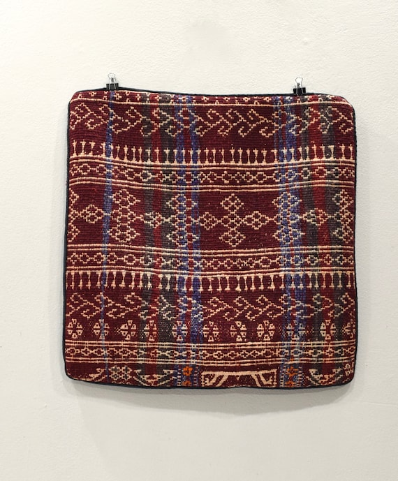 Pillow Case Kilim Rug Hand Stiched Rug Fragment Pillow Case