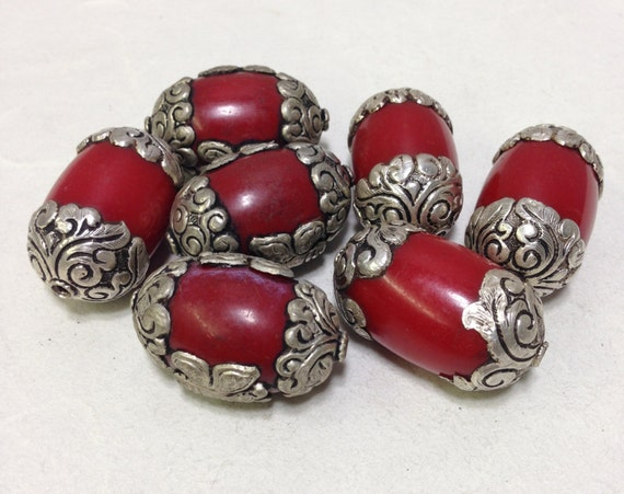 Beads Tibetan Red Coral Bakelite Bead Ornate Silver Etched Handmade Handcrafted Jewelry Necklace Unique C