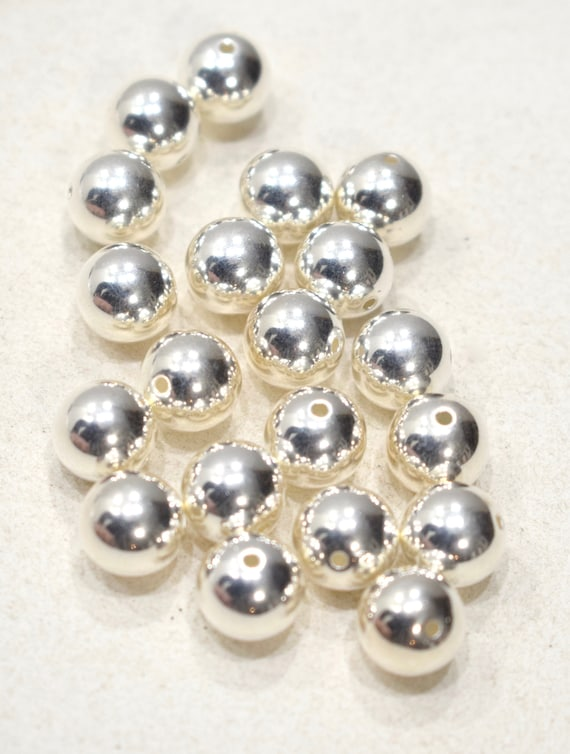 Beads Bright Siver Plated Round Beads 10mm