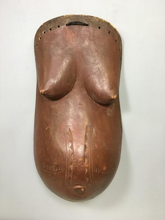 African Mask Wood Body Mask Makonbe Tanzania Handmade Body Dance Mask Women Female Ritual Childbbirth Fertilty Mask