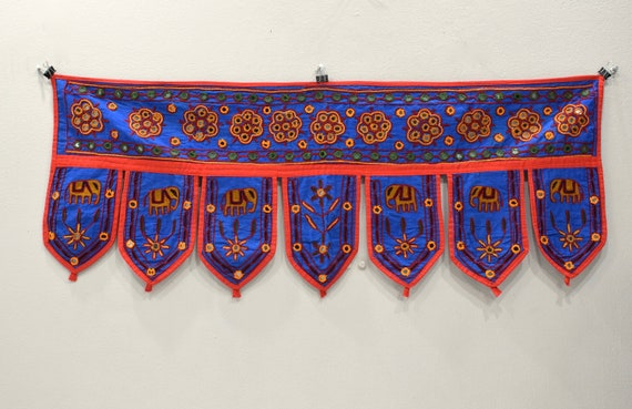India Toran Handmade Embroidered Mirror Doorway Fabric Cover