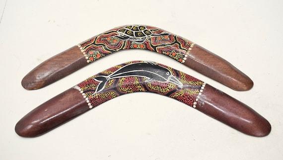 Boomerang Bali Indonesia Wood Wall Decor Tribal Painted Boomerang