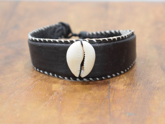 Bracelet African Black Dyed Leather Cowrie Shell Bracelet Mali