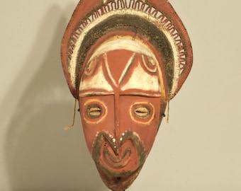 Papua New Guinea Mask Red Balsa Wood Abelam Harvest Yam Mask