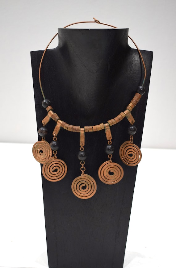 Necklace Africa Turkana Copper Coil Choker 18.5""