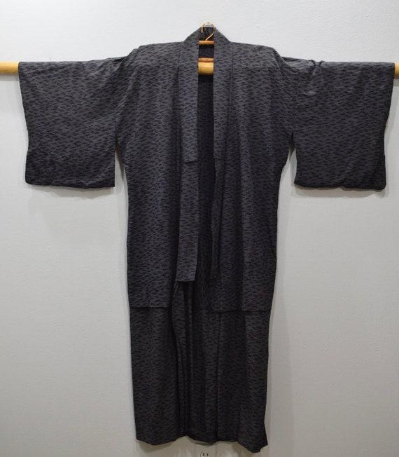 Kimono Japanese Black Gray Long Kimono